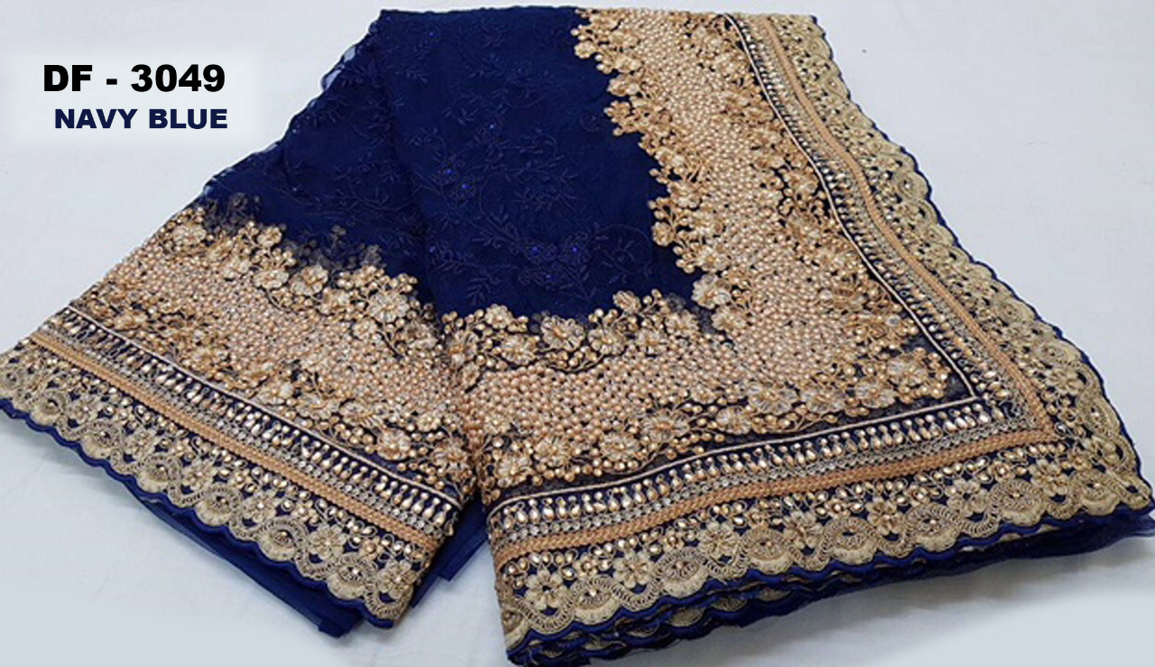 1a21ddb8eb DF 3049 Colors Net Fabric Embroidered Designer Traditional Party Wear  Occasionally Heavy Diamond with Pearl Work Bridal Wedding Saree singles  wholesale ...