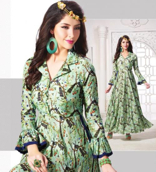 405 Green Cotton Printed Designer Gown Style Kurti