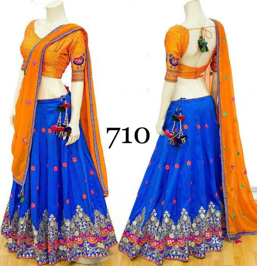 AF 710 Blue Silk Embroidered Banarasi Lehenga Choli
