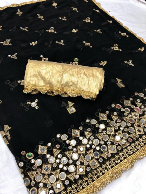 Mirror Work Georgette Party Wear Festive Traditional Saree