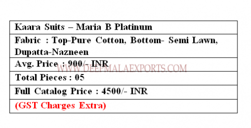 Kaara Suits Maria B Platinum 1001 Price