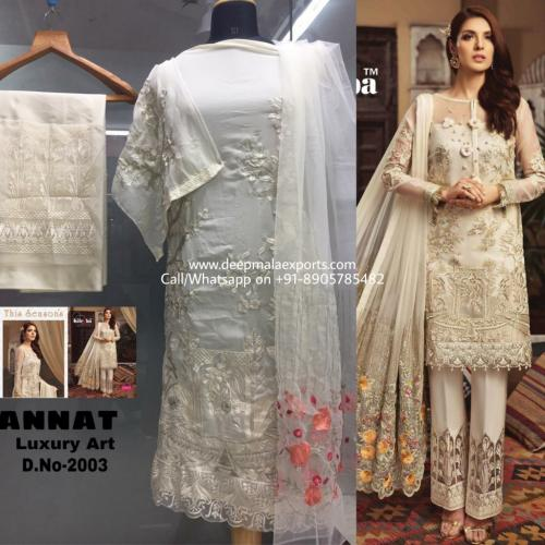 Kilruba Jannat Luxury Art 2003 Cream Designer Dress