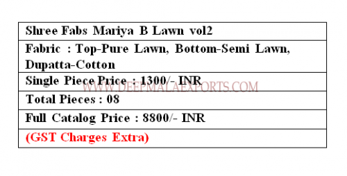 Shree Fabs Mariya B Lawn 2 Price
