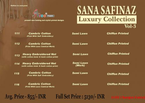 Shree Fabs Sana Safinaz Luxury Collection 3 Price