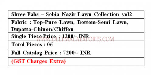 Shree Fabs Sobia Nazir Lawn Collection 2 Price
