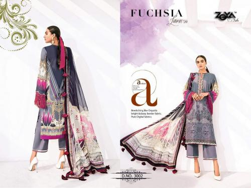 Zeya Suits Fuchsia Lawn Collection 3002